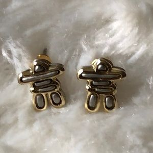 Inukshuk Earrings -Silver and Gold